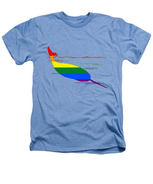 Rainbow Narwhal Heathers T-Shirt by Mordax Furittus