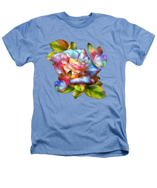 Rainbow Rose And Butterflies Heathers T-Shirt by Carol Cavalaris
