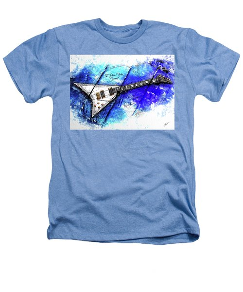 Randy's Guitar On Blue II Heathers T-Shirt by Gary Bodnar