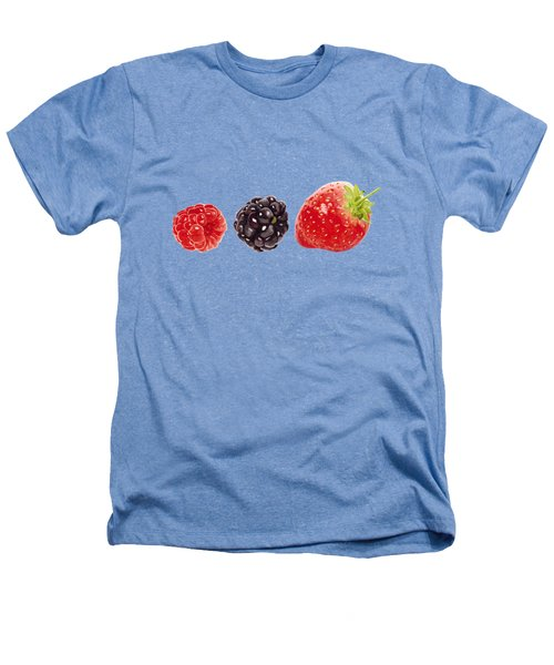 Raspberry, Blackberry And Strawberry In Watercolor Heathers T-Shirt by Kathleen Skinner