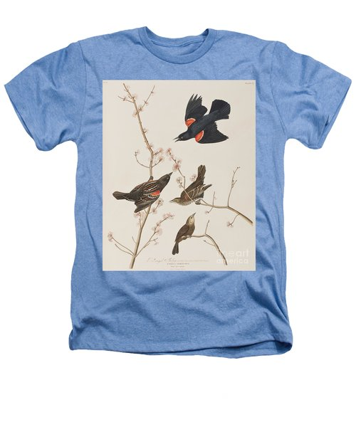 Red Winged Starling Or Marsh Blackbird Heathers T-Shirt by John James Audubon