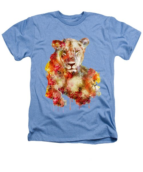 Resting Lioness In Watercolor Heathers T-Shirt by Marian Voicu
