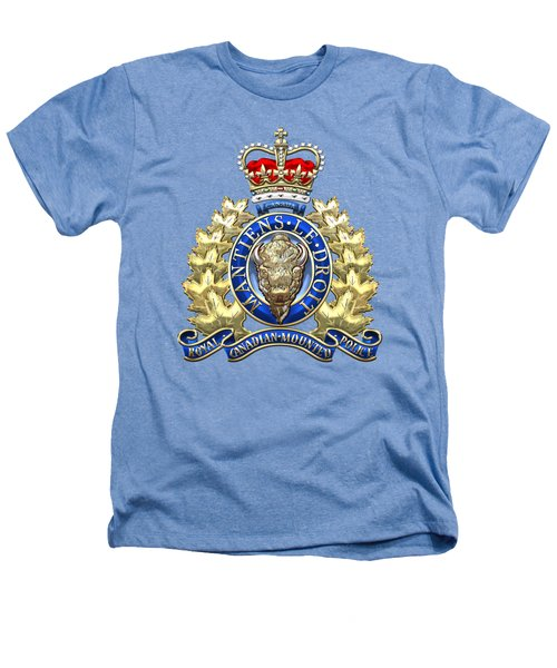 Royal Canadian Mounted Police - Rcmp Badge On White Leather Heathers T-Shirt by Serge Averbukh