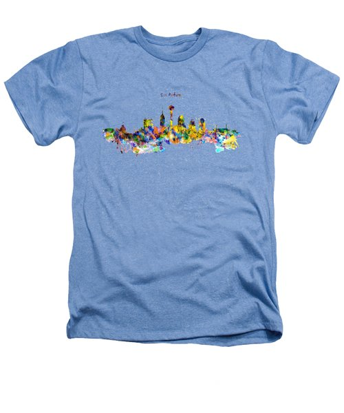 San Antonio Skyline Silhouette Heathers T-Shirt by Marian Voicu