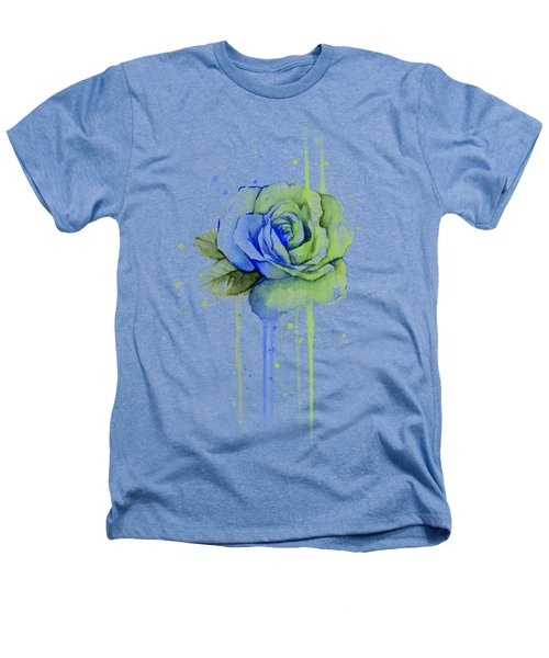 Seattle 12th Man Seahawks Watercolor Rose Heathers T-Shirt by Olga Shvartsur