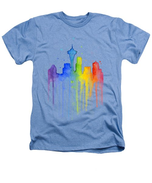 Seattle Rainbow Watercolor Heathers T-Shirt by Olga Shvartsur