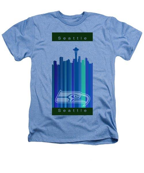 Seattle Sehawks Skyline Heathers T-Shirt by Alberto RuiZ