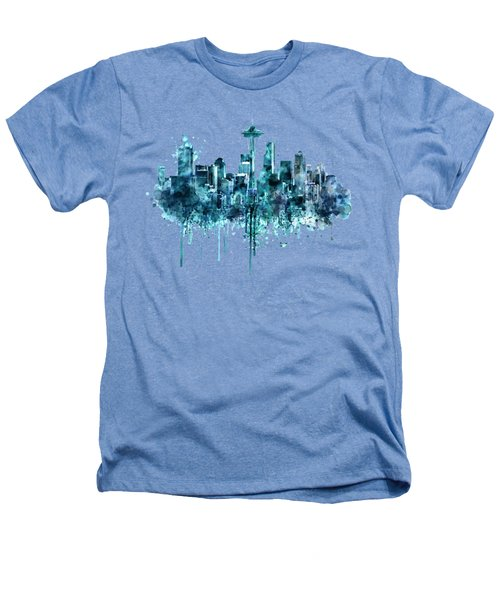 Seattle Skyline Monochrome Watercolor Heathers T-Shirt by Marian Voicu