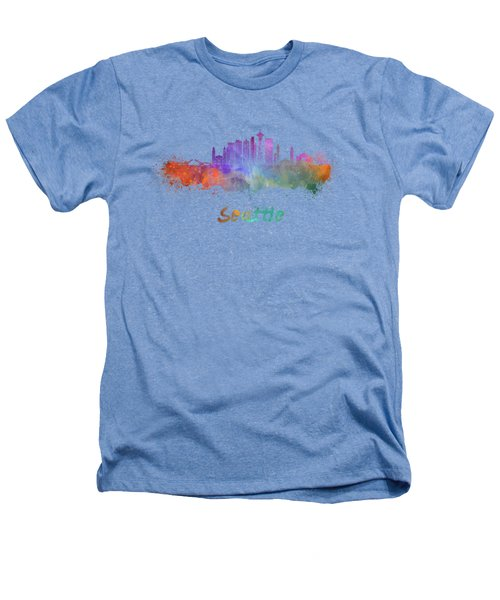Seattle V2 Skyline In Watercolor Heathers T-Shirt by Pablo Romero