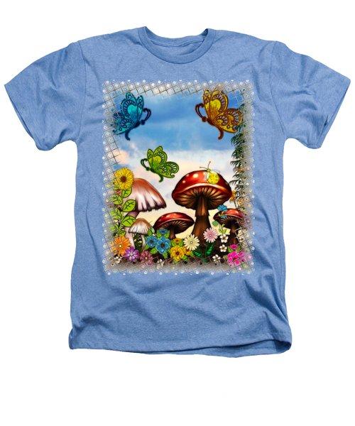 Shroomvilla Summer Fantasy Folk Art Heathers T-Shirt by Sharon and Renee Lozen