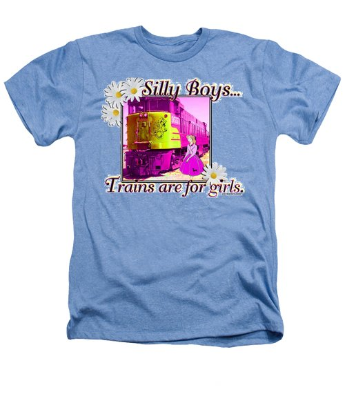 Silly Boys, Trains Heathers T-Shirt by Sheri Cockrell