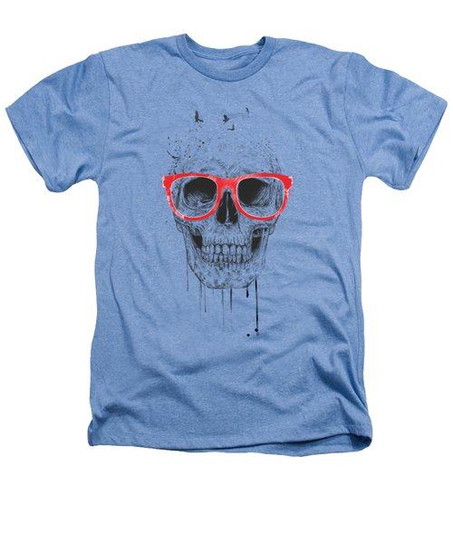 Skull With Red Glasses Heathers T-Shirt by Balazs Solti