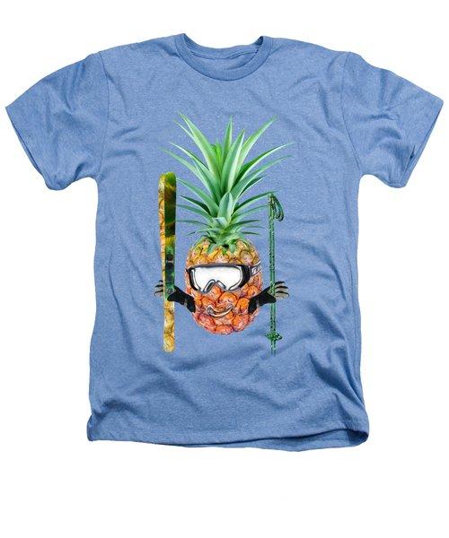 Smiling Pineapple-downhill Skier Heathers T-Shirt by Elena Nikolaeva