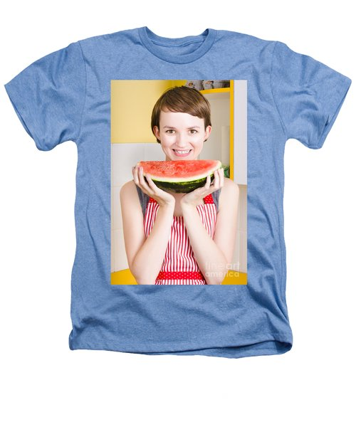 Smiling Young Woman Eating Fresh Fruit Watermelon Heathers T-Shirt by Jorgo Photography - Wall Art Gallery