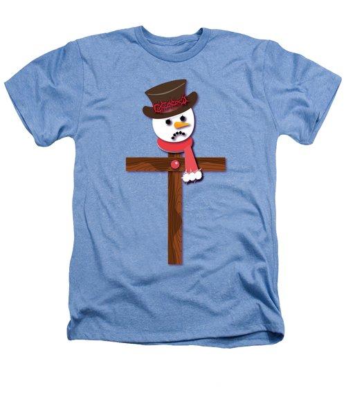 Snowman Christian Cross Heathers T-Shirt by Reggie Hart