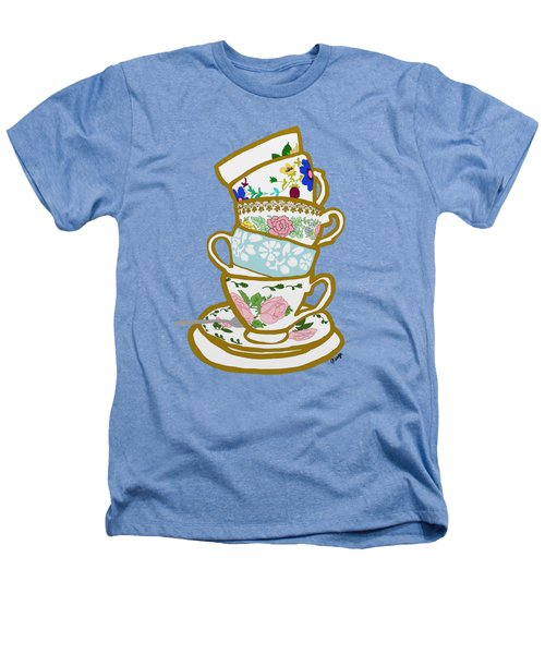 Stacked Teacups Heathers T-Shirt by Priscilla Wolfe