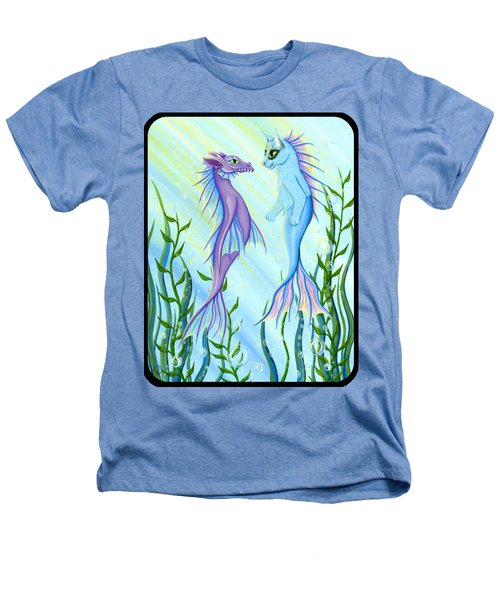 Sunrise Swim - Sea Dragon Mermaid Cat Heathers T-Shirt by Carrie Hawks