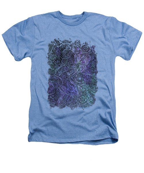 Swan Dance Berry Blues 3 Dimensional Heathers T-Shirt by Di Designs