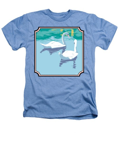 Swans On The Lake And Reflections Absract - Square Format Heathers T-Shirt by Walt Curlee