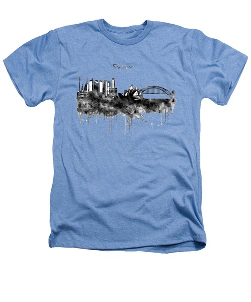 Sydney Black And White Watercolor Skyline Heathers T-Shirt by Marian Voicu