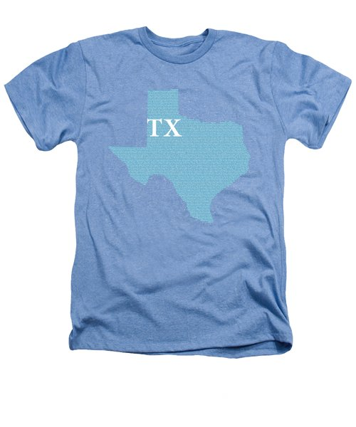 Texas State Map With Text Of Constitution Heathers T-Shirt by Design Turnpike