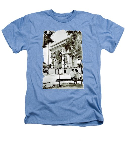The Arc De Triomphe Paris Black And White Heathers T-Shirt by Marian Voicu