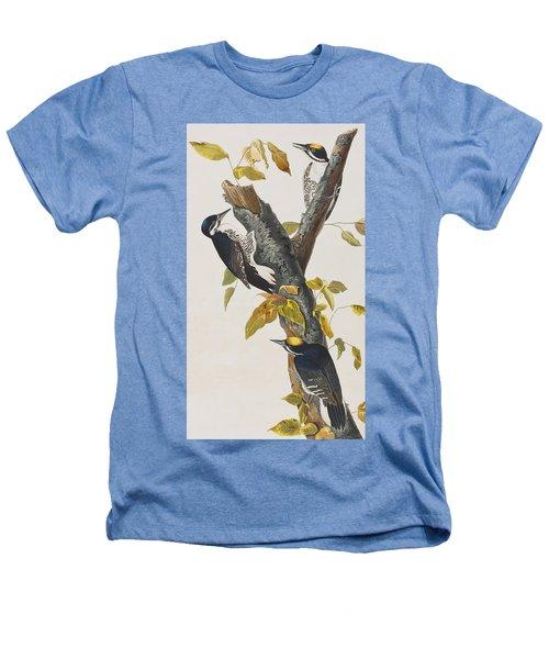 Three Toed Woodpecker Heathers T-Shirt by John James Audubon