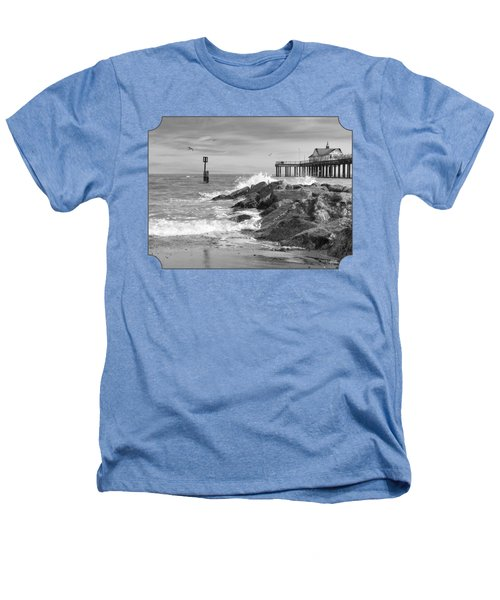 Tide's Turning - Black And White - Southwold Pier Heathers T-Shirt by Gill Billington