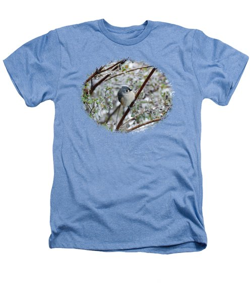 Titmouse On Snowy Branch Heathers T-Shirt by Larry Bishop