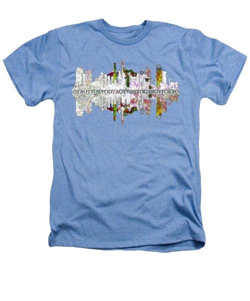 Tokyo Skyline On White Heathers T-Shirt by John Groves