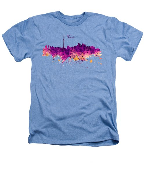 Toronto Watercolor Skyline Heathers T-Shirt by Marian Voicu
