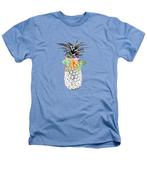 Tropical Pineapple Flowers Aqua Heathers T-Shirt by Dushi Designs