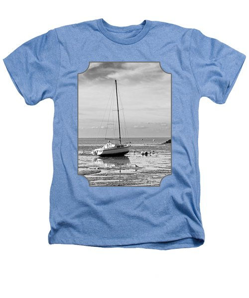 Waiting For High Tide Black And White Heathers T-Shirt by Gill Billington