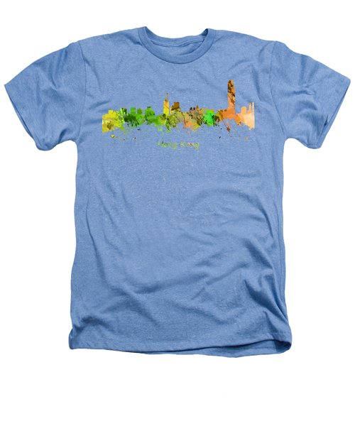 Watercolor Skyline Of Hong Kong Heathers T-Shirt by Chris Smith