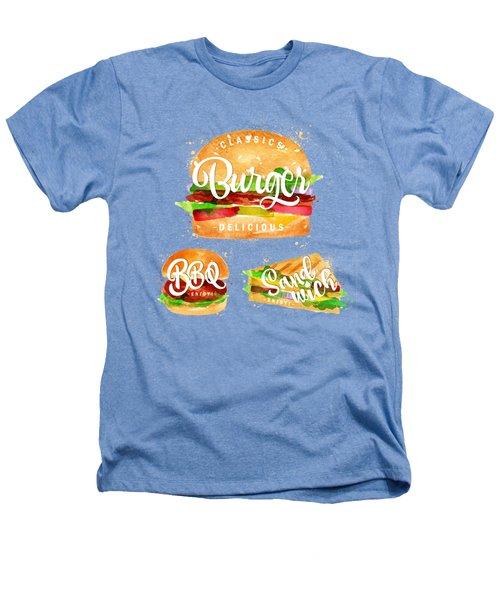 White Burger Heathers T-Shirt by Aloke Design