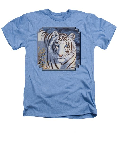 White Tiger - Crystal Eyes Heathers T-Shirt by Crista Forest
