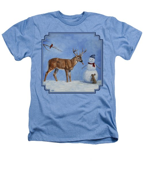 Whitetail Deer And Snowman - Whose Carrot? Heathers T-Shirt by Crista Forest
