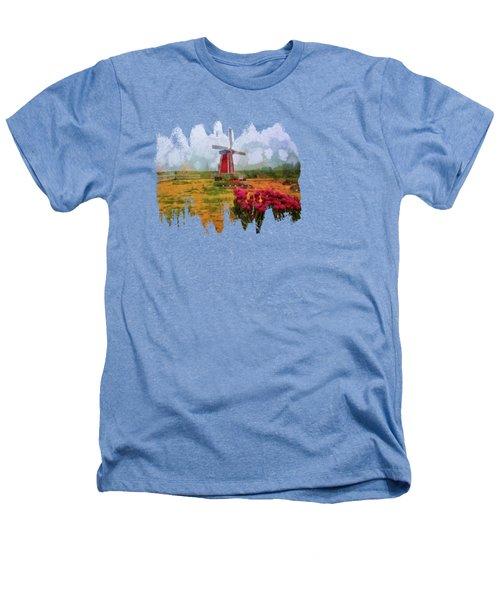 Windmill And Tulips Heathers T-Shirt by Thom Zehrfeld