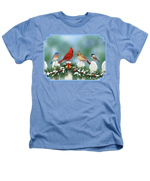 Winter Birds And Christmas Garland Heathers T-Shirt by Crista Forest