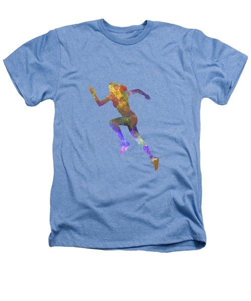 Woman Runner Running Jogger Jogging Silhouette 03 Heathers T-Shirt by Pablo Romero