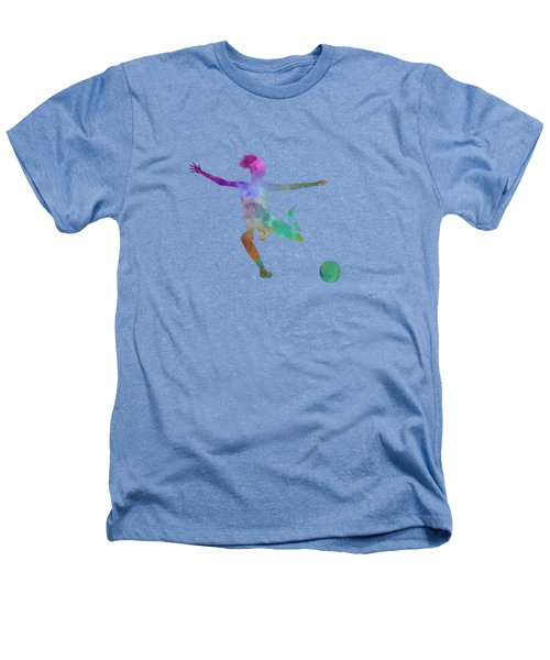 Woman Soccer Player 03 In Watercolor Heathers T-Shirt by Pablo Romero