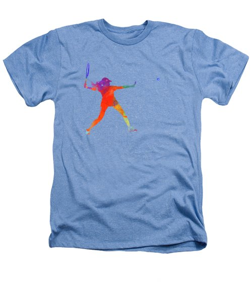 Woman Tennis Player 01 In Watercolor Heathers T-Shirt by Pablo Romero