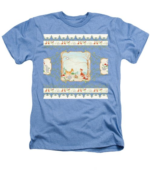 Woodland Fairy Tale - Aqua Blue Forest Gathering Of Woodland Animals Heathers T-Shirt by Audrey Jeanne Roberts