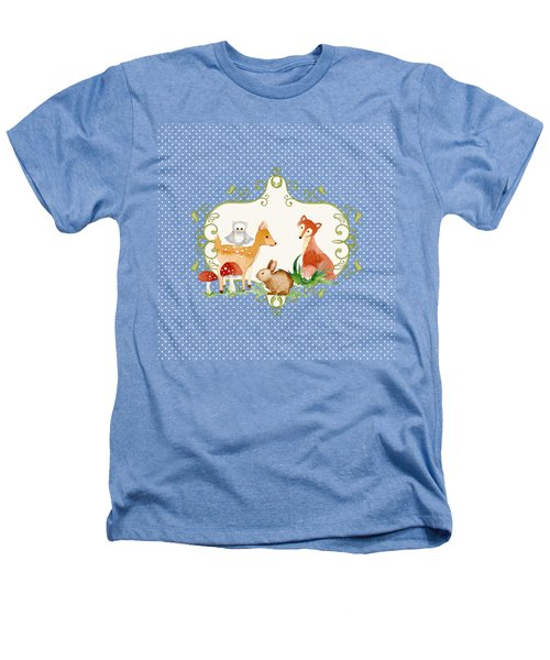 Woodland Fairytale - Grey Animals Deer Owl Fox Bunny N Mushrooms Heathers T-Shirt by Audrey Jeanne Roberts