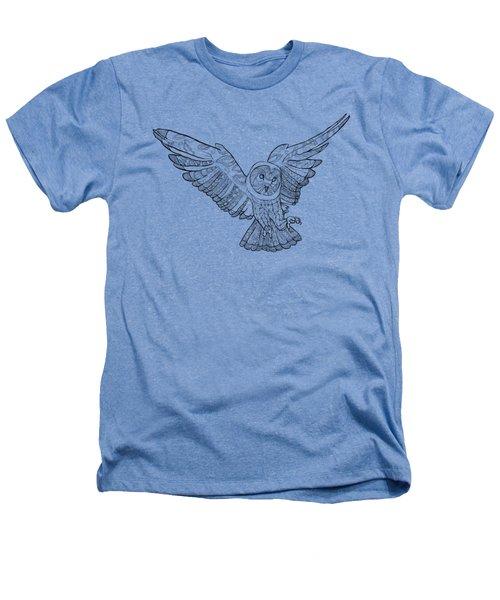 Zentangle Owl In Flight Heathers T-Shirt by Cindy Elsharouni