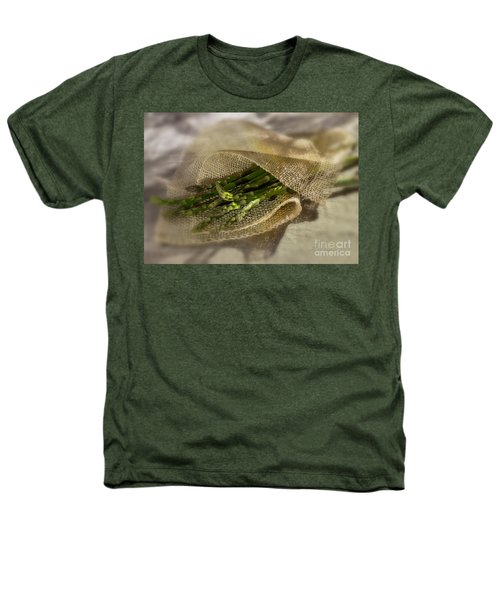 Green Asparagus On Burlab Heathers T-Shirt by Iris Richardson