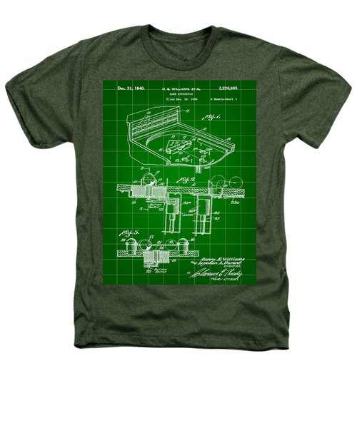 Pinball Machine Patent 1939 - Green Heathers T-Shirt by Stephen Younts