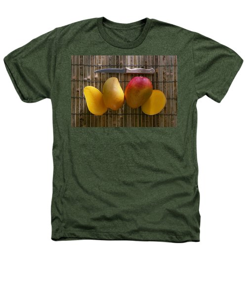 Agriculture - Sliced Sunrise Mango Heathers T-Shirt by Daniel Hurst