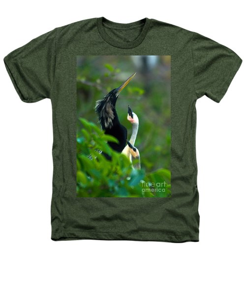Anhinga Adult With Chicks Heathers T-Shirt by Mark Newman