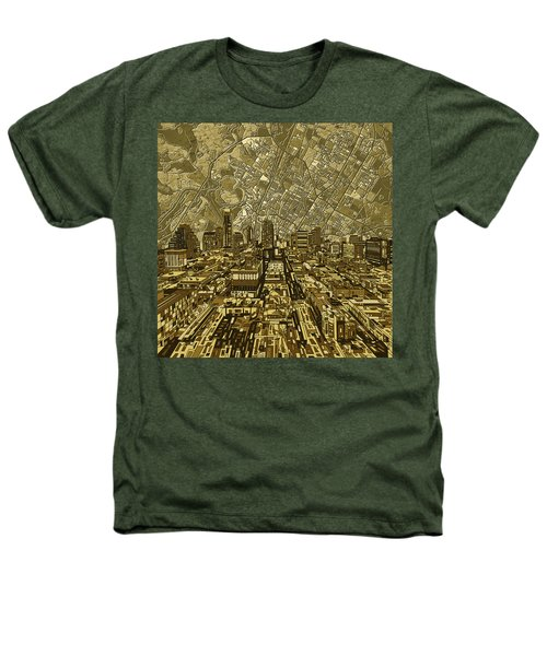 Austin Texas Vintage Panorama Heathers T-Shirt by Bekim Art